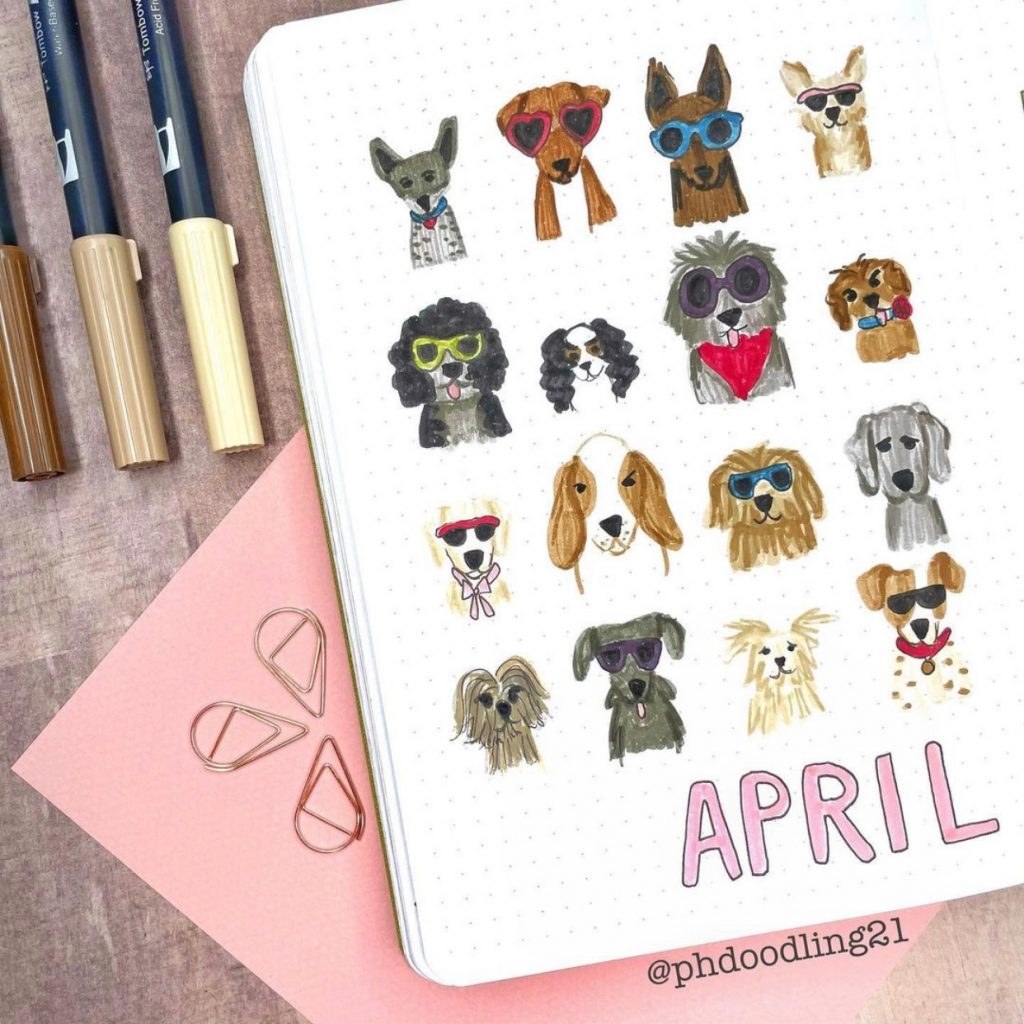 dogs bujo theme by @phdoodling21