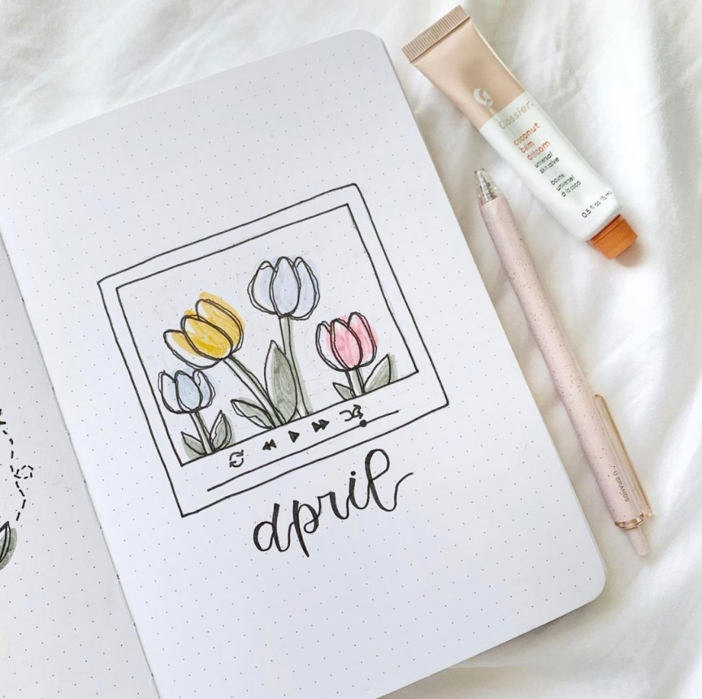 tulips bujo theme by @Claire.journals