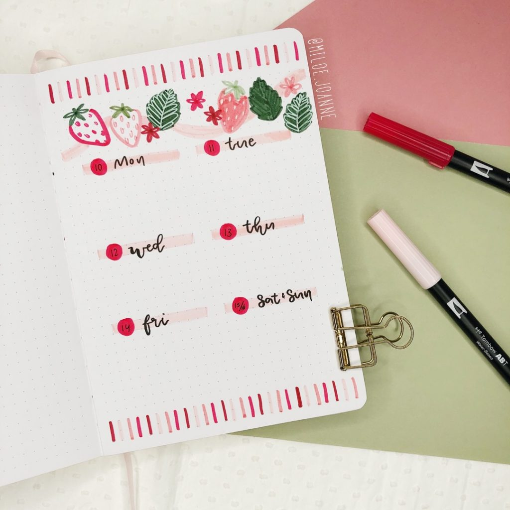 Bullet Journal Strawberry theme weekly