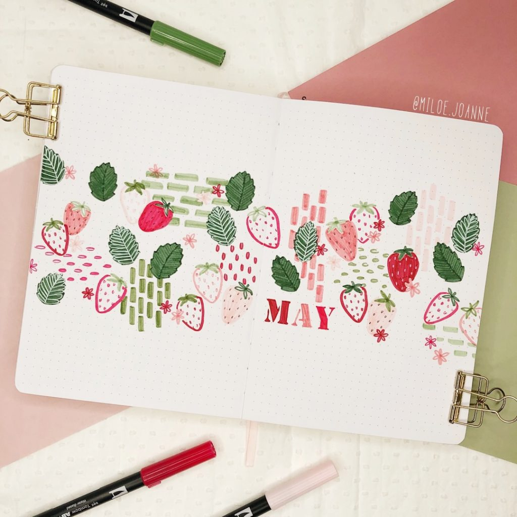 May 2021 Bullet Journal Strawberry theme